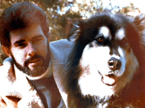 George Lucas with family dog Indiana