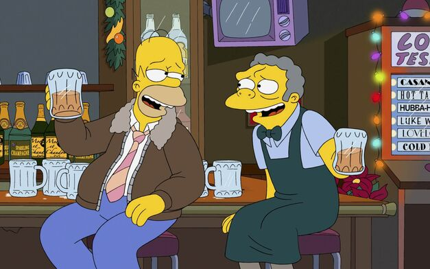 The Simpsons homer and moe drink beer