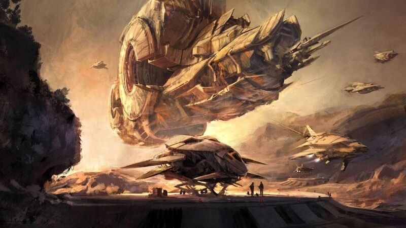 Another piece of rare concept art from Blizzard's cancelled MMO meets shooter, Project Titan. Showing a gigantic spacecraft looming over a horizon.