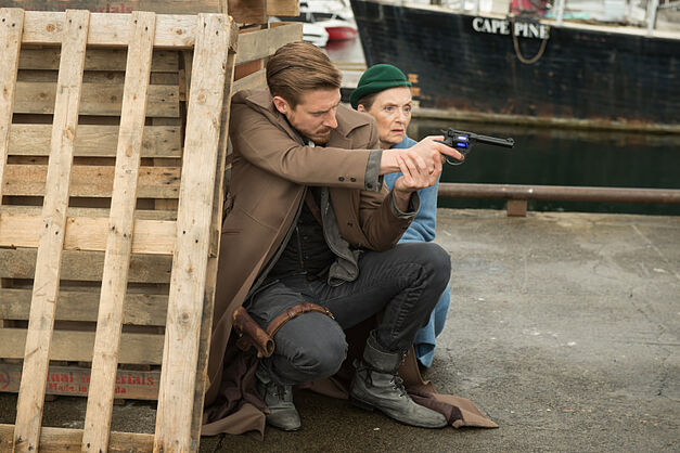 Arthur Darvill as Rip Hunter and Christina Jastrzembska as Mileva Maric.