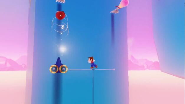 Mario throws Cappy to possess a fork in Luncheon Kingdom