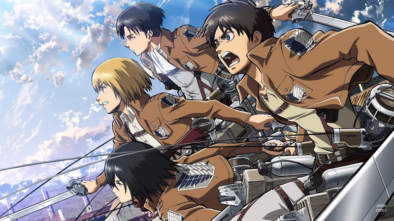 Attack on Titan Characters Eren, Armin, Levi, and Mikasa.