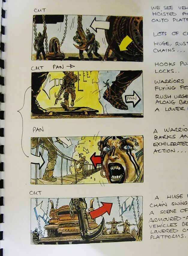 Storyboards for the vehicle-lowering scene.