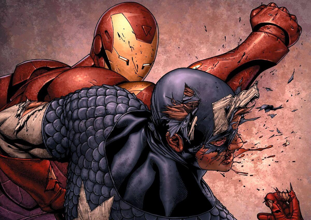 Iron Man Punches Captain America Marvel Civil War
