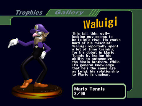 A Waluigi trophy from Super Smash Bros. Melee.