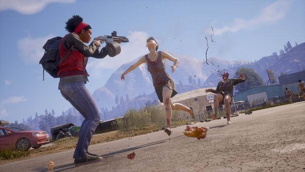 A zombie sprints towards a survivor with a shotgun.