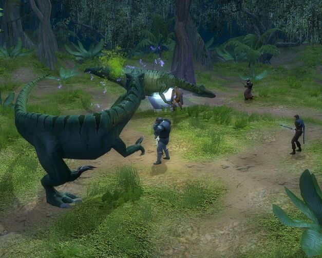 A party fighting dinosaurs in the jungles of Chult.