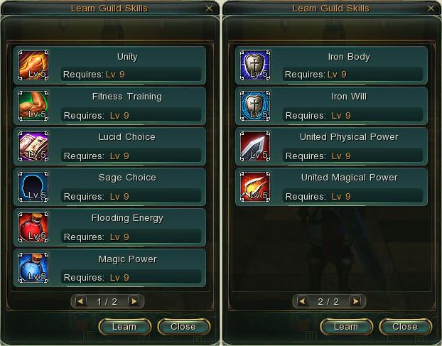Guild skills window