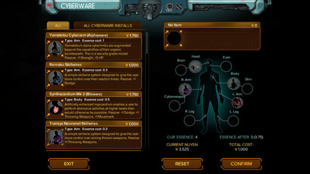 Examples of cyberware upgrades the player can install in Shadowrun: Hong Kong.