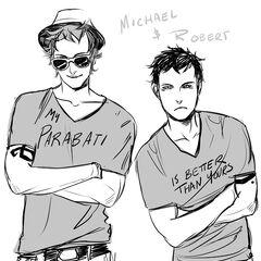 Jovem Robert e Michael