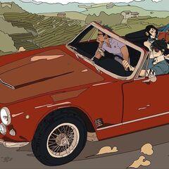 Alec dirigindo um Maserati, com Magnus e Shyniun, em seu caminho para Roma