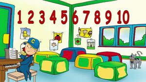 Caillou can count from 1 to 10