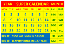 Super Calendar Table