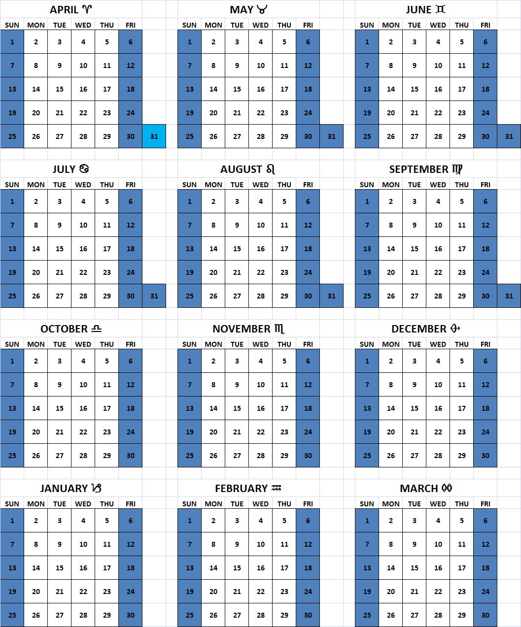 6-Day Week Solar Calendar with common Muslim/Christian weekend