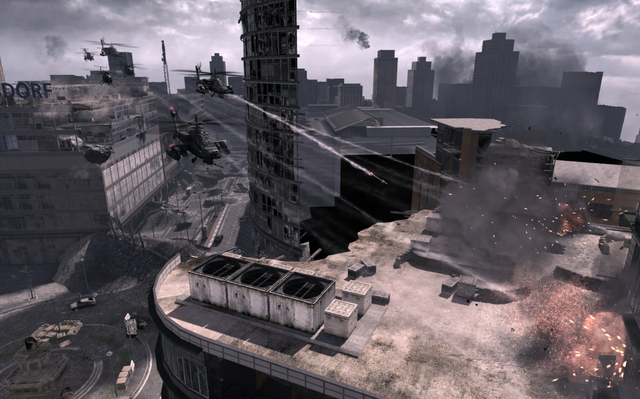 File:AH-64 Apaches clearing rooftop Scorched Earth MW3.png