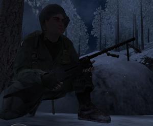Голдберг с пулемётом