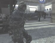 SAS soldier holding MP9 akimbo MW3