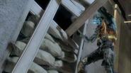 Cyborg zombie tearing down barrier Dead Rising CODO