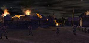 Бойцы в пылающей деревне