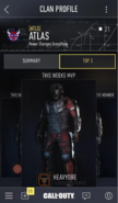 COD AW (app) Clan Profile - Top 3 - Full View