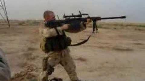 Shoulder firing the M107 Barrett