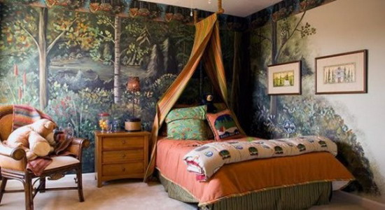 Modern Boys Bedroom Decoration With Forest Wallpaper