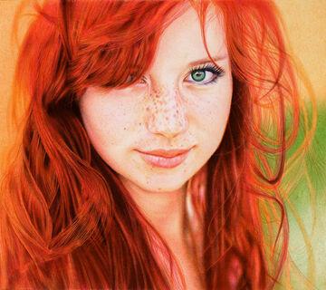 Redhead girl ballpoint pen by vianaarts-d5531ab