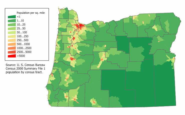 Oregon Population Map Oregon | Campaigns Wikia | FANDOM powered by Wikia