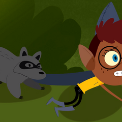 Nerris getting scavenged by a raccoon.