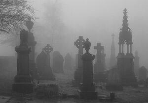 Graves by the mortuary