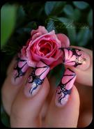 Nail art pink flames by tartofraises-d3hi2bk