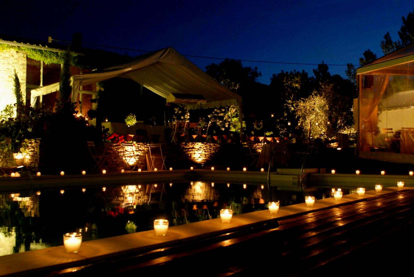 Backyard Candle Lit Flower Pool Decorations Party