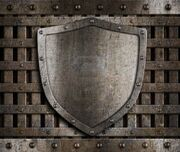 12202049-aged-metal-shield-on-wooden-medieval-gates