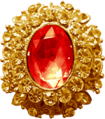 Gold Pendant Ruby by Dori Stock