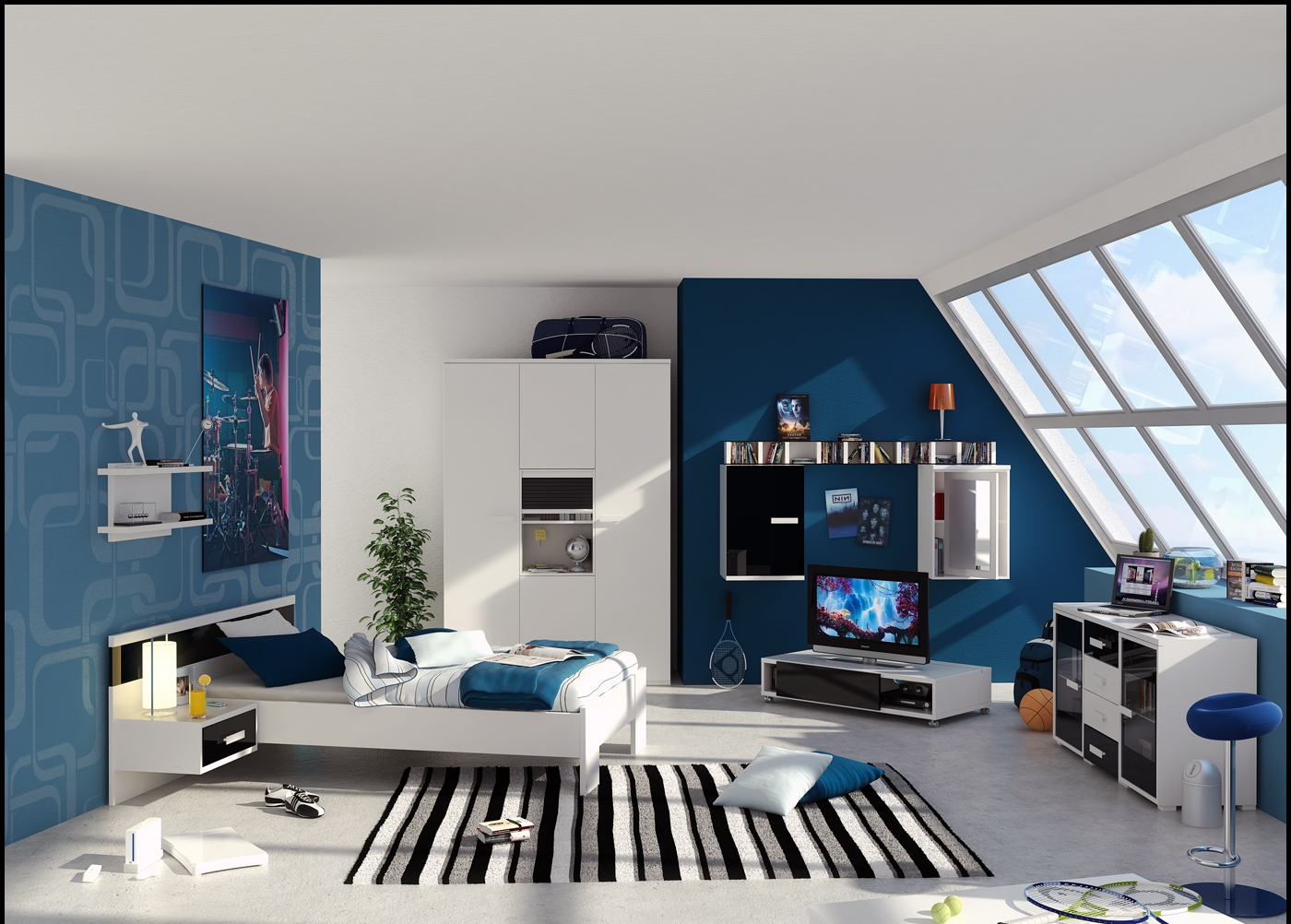 Blue And White Interior For Boys Room With Slopping Window Jpg
