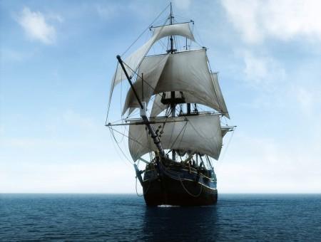 Black Galleon Ship On Sea 450x340 - WallpapersEveryDay.com (1)