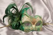 Green masquerade mask ROND04G0