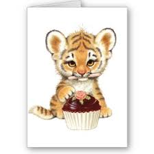 Tiger with cupcake