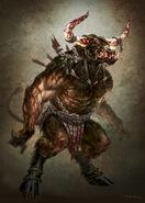 God of War III Minotaur by andyparkart