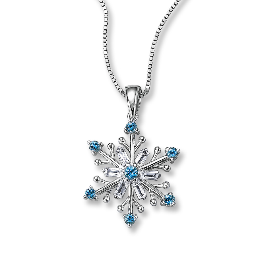 topaz white pendant snowflake sapphire item swiss and necklace blue