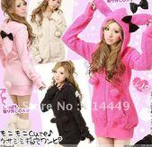 NEW-Hoodie-zip-sweater-Rabbit-ears-top-ROSE-RED-Fleece-free-shipping