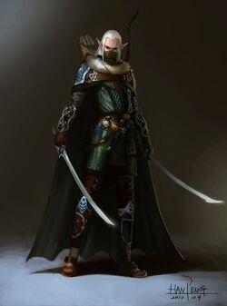 640x862 6784 Elf hunter 2d character elf warrior fantasy picture image digital art