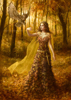 640x898 2182 H 2d fantasy girl autumn fairy forest female woman picture image digital art
