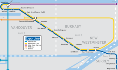 Map Of Canada Line Vancouver.Expo Line Canada Wiki Fandom Powered By Wikia