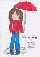 Vancouver in the rain with an umbrella