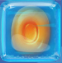 Orange in Blue Jelly cube