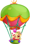 Jenny and Yeti cheering on balloon