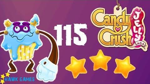 Candy Crush Jelly - 3 Stars Walkthrough Level 115 (Puffler Boss mode)