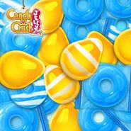 Yellow and cyan candies cover