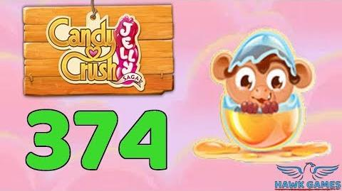 Candy Crush Jelly Saga Level 374 (Monkling mode) - 3 Stars Walkthrough, No Boosters